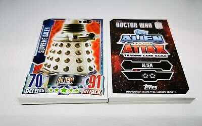 Bulk Job Lot of 50 Different New Doctor Who Alien Attax Trading Cards by Topps