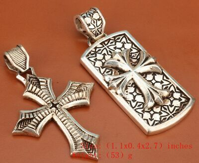 2 Retro Chinese Tibetan Silver Pendant Crosses Old Exorcism Mascot Collec Gift