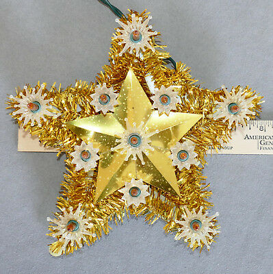 Christmas Tree Topper Star Lights UL Tested Small GOLD Indoor Only Tinsel