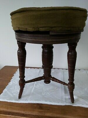 Vintage Round Victorian Piano Stool