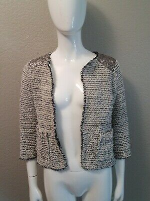 Zara Knit Open Front Frayed Edges 3/4 Sleeve Beige Black Sequined Jacket (SMALL