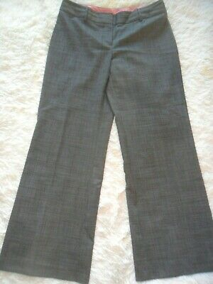 Marks & Spencers Autograph Fine Check Trousers 14 R Poly Wool Mix Smart Office