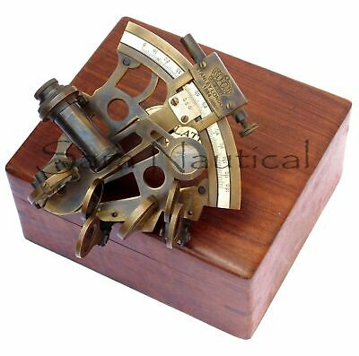 Nautical Brass Antique Sextant Vintage Brass Antique With Wooden Box