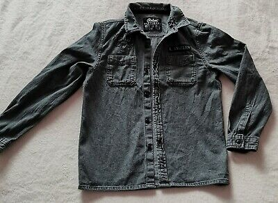Boys Faded Look Black Denim Long Sleeved Shirt Age 11-12 years