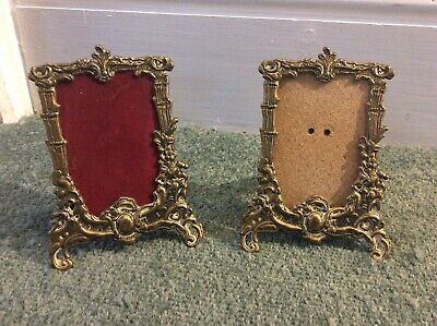 Pair of Antique French Baroque Rococo Style Brass Small Photo Frames & Glass