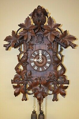 ANTIQUE GERMAN  BLACK FOREST RARE CUCKOO CLOCK WITH BIRDS IN NEST late 1800's