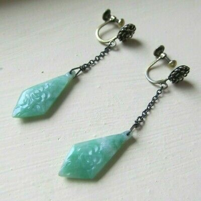 LOVELY Antique Carved APPLE GREEN JADE Dangle Drop EARRINGS Gilt CHINESE