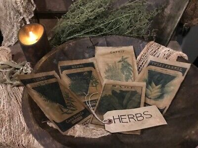 Primitive Spring Bowl Fillers Garden HERBS Seed Packs  Homestead Cupboard Tuck