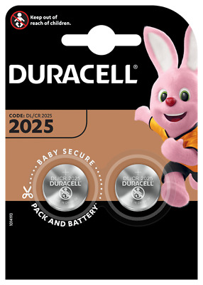 Two Duracell Cr2025 Dl2025 Br2025 3V Lithium Coin Cell Button Batteries Free P&P