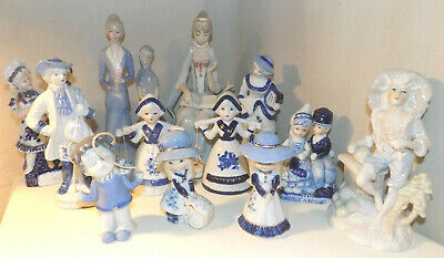 Job Lot Vintage Blue and White Figurines, 13 Figures and Groups
