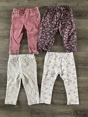 Bundle Of 4 Pairs Of Baby Girls Trousers/ Jeggings - 9-12 Months & 12-18 Months