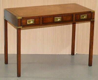 Kennedy Furniture Harrods Mahogany Leather Military Campaign Writing Table Desk