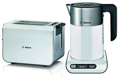 Bosch Styline Temperature Control Electric Kettle,2 Slice Toaster Twin Set White