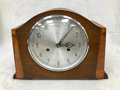 Antique Vintage Wooden Smiths Enfield Chiming Mantel Clock With Pendulum #107