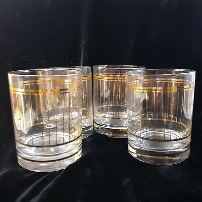 4 Culver Gold Verticle Stripe Old Fashioneds Cocktail Glasses Set Barware MCM