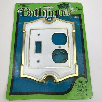VTG Bathroom Wall Outlet Light Switch Cover Plate Brass White Rare Bathtiquet