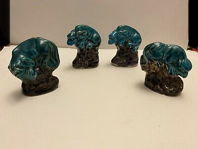 4 CHINESE ? Blue ceramic figurine statue ornament Dragons/dogs