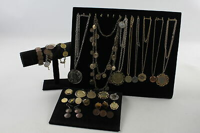 25 x Vintage & Antique COIN JEWELLERY inc Cut Out, Enameled, Gold Plated, Bangle