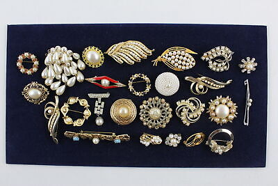 25 x Vintage FAUX PEARL BROOCHES inc. Abstract, Waterfall, 80s, Fancy, Statement