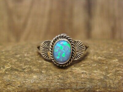 Native American Indian Jewelry Sterling Silver Opal Ring Size 6 Kenneth