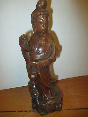 "Vintage Asian Carved Wooden Figure Statue 10"" T X 3.5"" W  Sage Deity God Scholar"