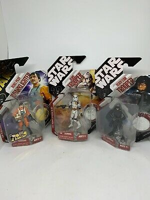 3 Figure Lot Star Wars Pilot,clone Trooper Death Star Sealed In Great Condition