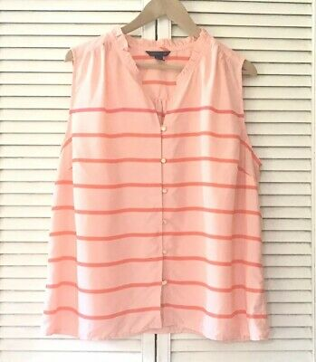Tommy Hilfiger Womens Top XXL Sleeveless Salmon Striped Button Casual V-neck
