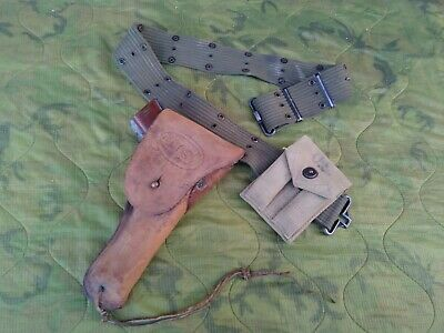 WW2 US MILITARY ISSUE M1936 CANVAS PISTOL BELT w/TAN LEATHER HOLSTER & MAG POUCH
