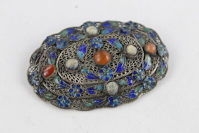 Antique .925 Sterling Silver CHINESE EXPORT Gem Set FILIGREE Brooch (14g)