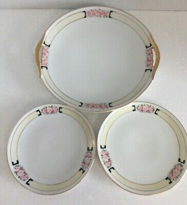 Nippon Cake Plate plus 2 dessert plates hand painted w pink flowers gold trim