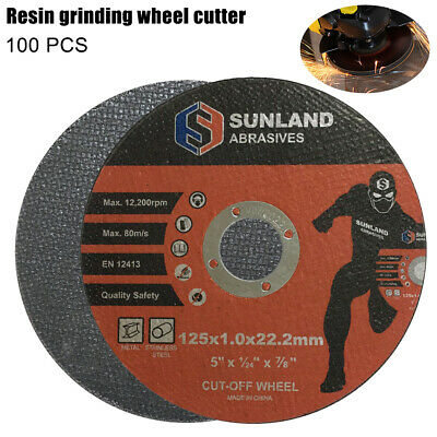 "100 x 5"" 125MM CUTTING DISC WHEEL THIN ANGLE GRINDER CUT OFF METAL STEEL FLAP AU"