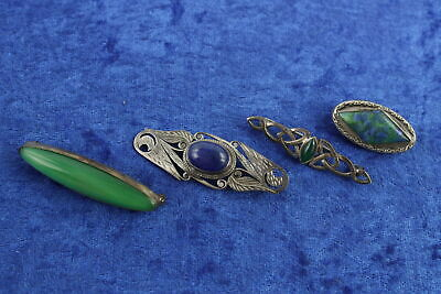 4 x Vintage .925 Sterling Silver BROOCHES inc. Arts & Crafts, Lapis Lazuli (29g)