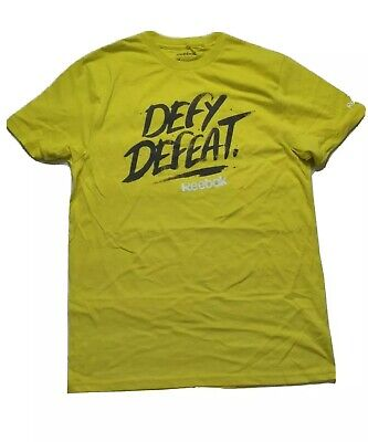 Reebok Mens Graphic Crossfit T Shirt Medium yellow Tee NWT Defy Defeat