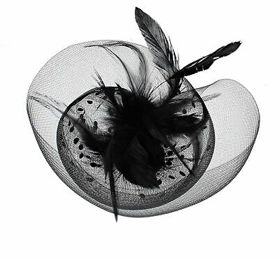 Zac's Alter Ego® Lace & Net Fascinator with Feathers on Clip