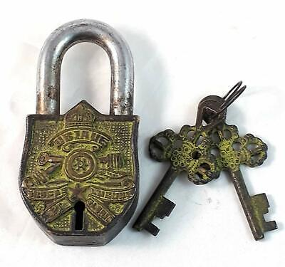 Old Look Vintage Brass Padlock Army Engraved Hand Crafted Design Sign with Key