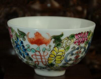 chinese Handwork old porcelain hand painted bat bowl /yongzheng mark Aa02J