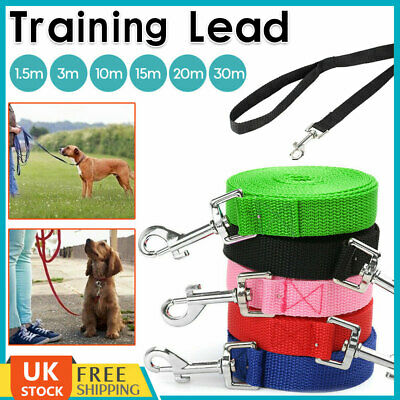 Dog Training Lead Puppy Leash Collar Harness Long Strong Rope 3M 10M 15M 20M 30M