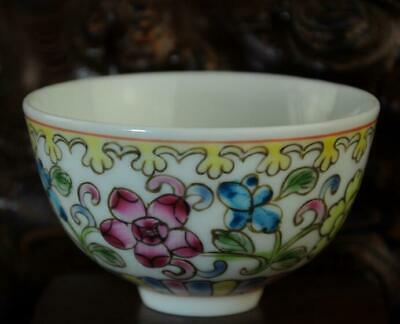 chinese Handwork old famille-rose porcelain hand painted flower bowl /Aa02J