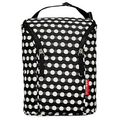 New SKIP HOP Grab & Go Double Bottle Bag Freezer Pack Included - Black Polka Dot