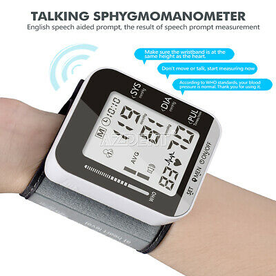 Portable Automatic Wrist Blood Pressure Monitor Sphygmomanometer With Voice