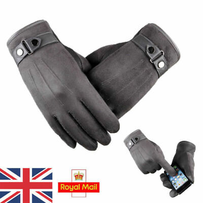 Men's Warm Suede Leather Fleece Lined Thermal Touch Screen Driving Gloves Gray