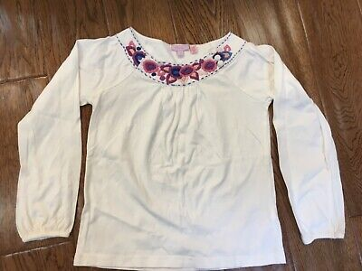 Pretty Monsoon Girls Top, cream with flower embriodery, age 6-8 years