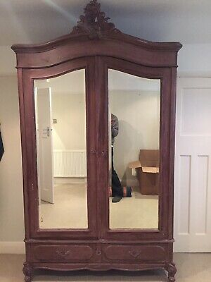 Vintage French Armoire Wardrobe Orginal 1900's Paintrd Shabby Chic