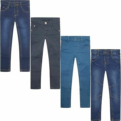 Kids Boys Casual Stretch Denim Jeans Chino Elasticated Adjustable Waist Trousers