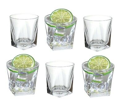 6 x Square Glass Tumblers 200ml Whisky Scotch Gin Cocktail Glasses Square Base