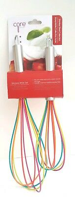 Core Kitchen Stainless Steel /& Silicone 2pc Whisk Set Red