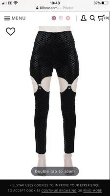 Killstar Black Sea Suspender Leggings Size S