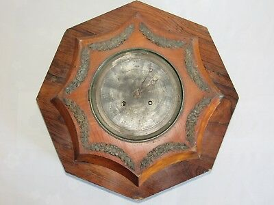 05E38 Antique Clock Wall Octagonal Eye Neatsfoot Oil Veneer Mahogany Early Xixth