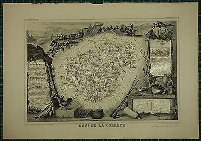 1856 Map France Department ~ De La Correze Tulle Brives Ussel Neuvie Lapleau