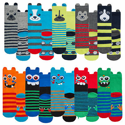 2 Pairs Boys Childrens Funny Socks with Ears Cute Dog Monsters Colorful Striped